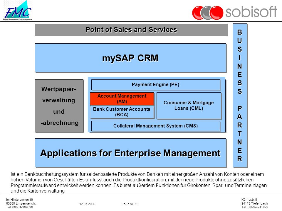 mySAP CRM Core Banking Applications for Enterprise Management