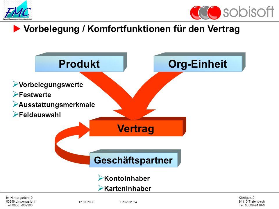 Produkt Org-Einheit Vertrag