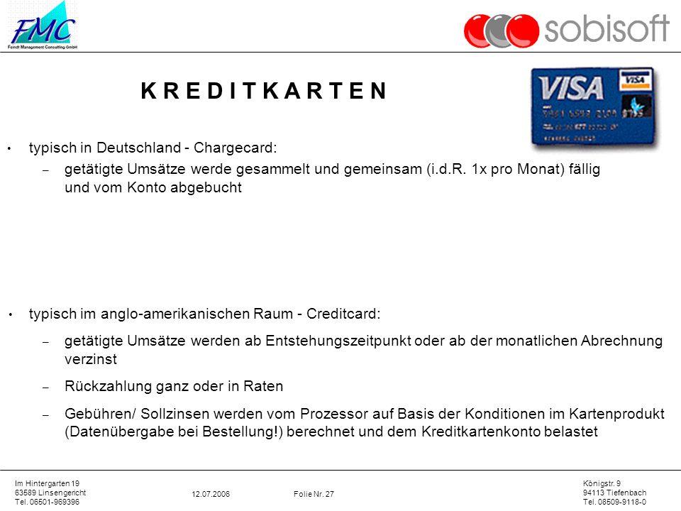 K R E D I T K A R T E N typisch in Deutschland - Chargecard: