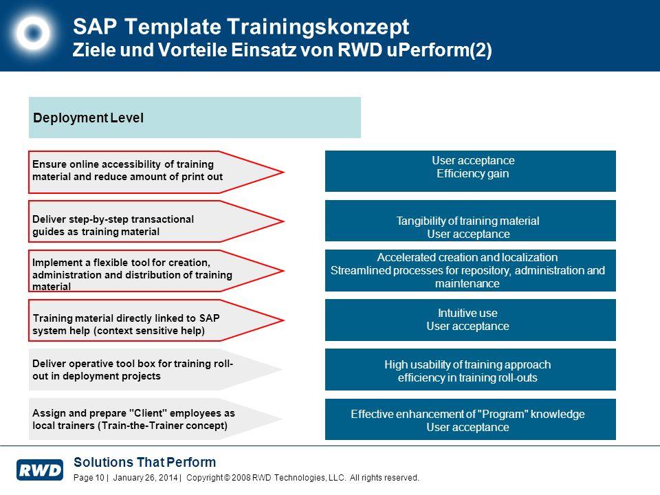 SAP Template Trainingskonzept Ziele und Vorteile Einsatz von RWD uPerform(2)