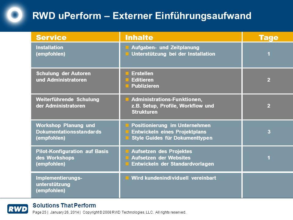 RWD uPerform – Externer Einführungsaufwand