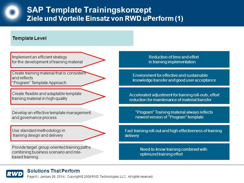 SAP Template Trainingskonzept Ziele und Vorteile Einsatz von RWD uPerform (1)
