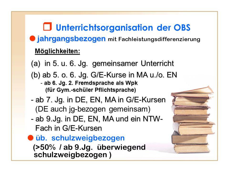  Unterrichtsorganisation der OBS