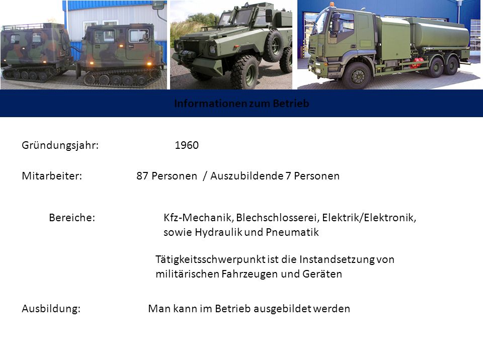 Informationen zum Betrieb