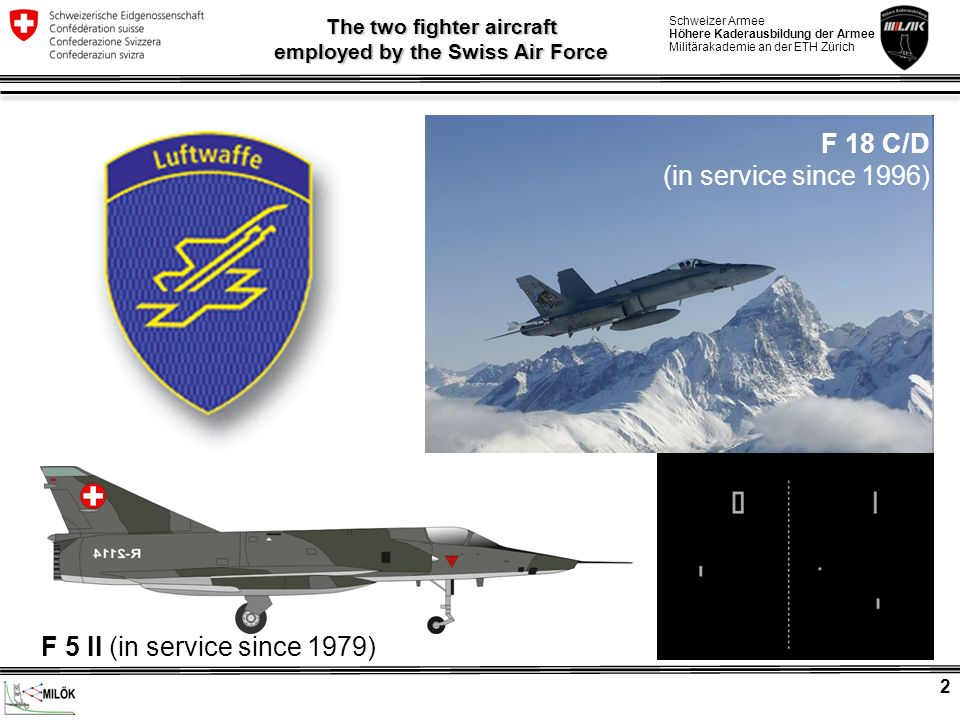 The two fighter aircraft employed by the Swiss Air Force