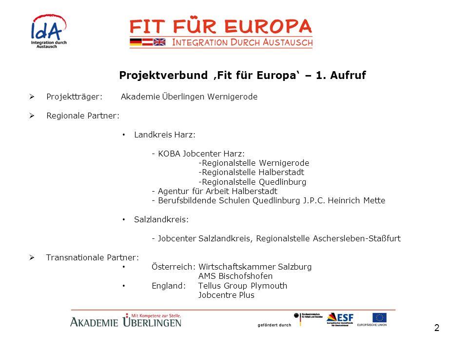 Projektverbund 'Fit für Europa' – 1. Aufruf
