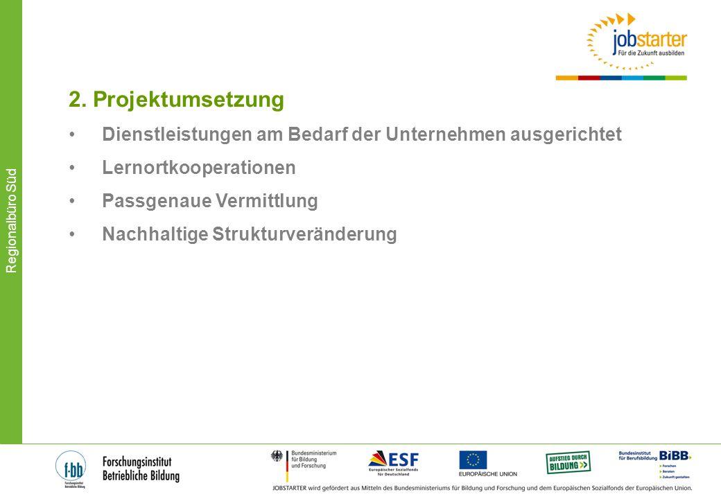 2. Projektumsetzung Dienstleistungen am Bedarf der Unternehmen ausgerichtet. Lernortkooperationen.