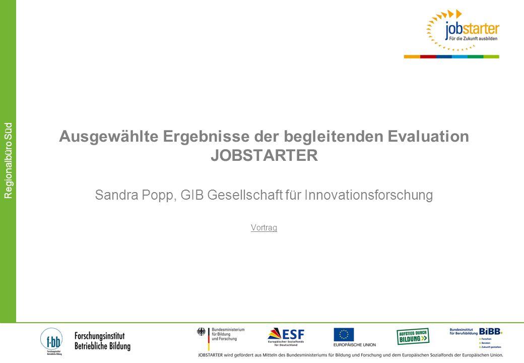 Ausgewählte Ergebnisse der begleitenden Evaluation JOBSTARTER Sandra Popp, GIB Gesellschaft für Innovationsforschung Vortrag