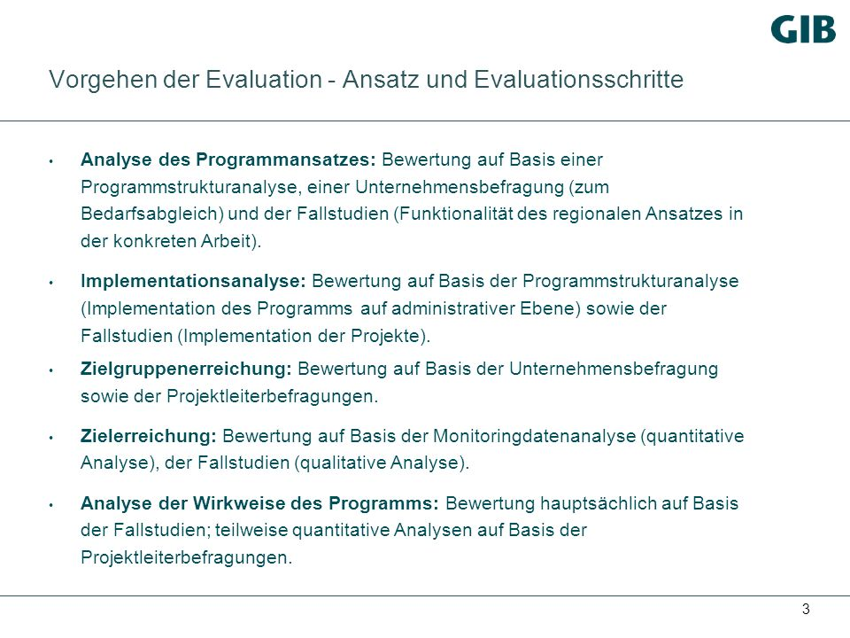 Vorgehen der Evaluation - Ansatz und Evaluationsschritte
