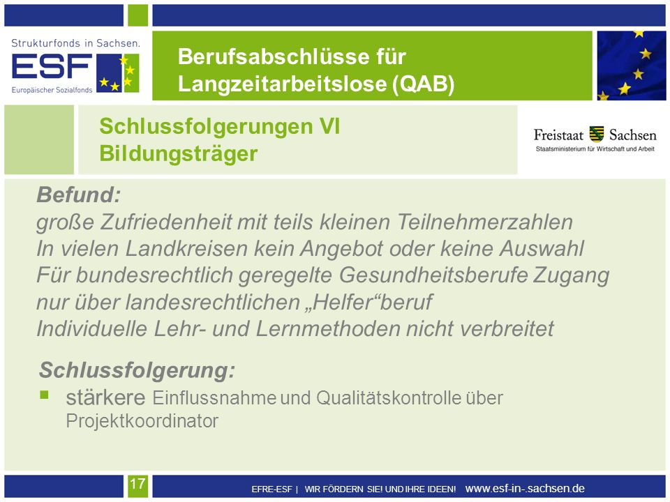 Berufsabschlüsse für Langzeitarbeitslose (QAB) Schlussfolgerungen VI. Bildungsträger. Befund: