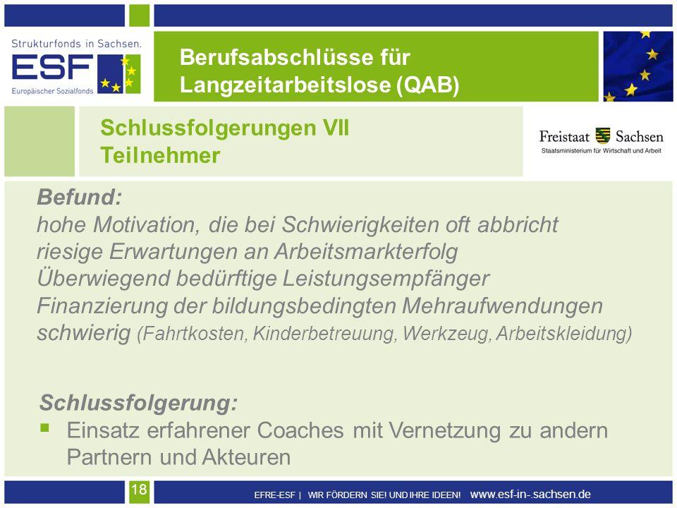 Berufsabschlüsse für Langzeitarbeitslose (QAB) Schlussfolgerungen VII. Teilnehmer. Befund: hohe Motivation, die bei Schwierigkeiten oft abbricht.