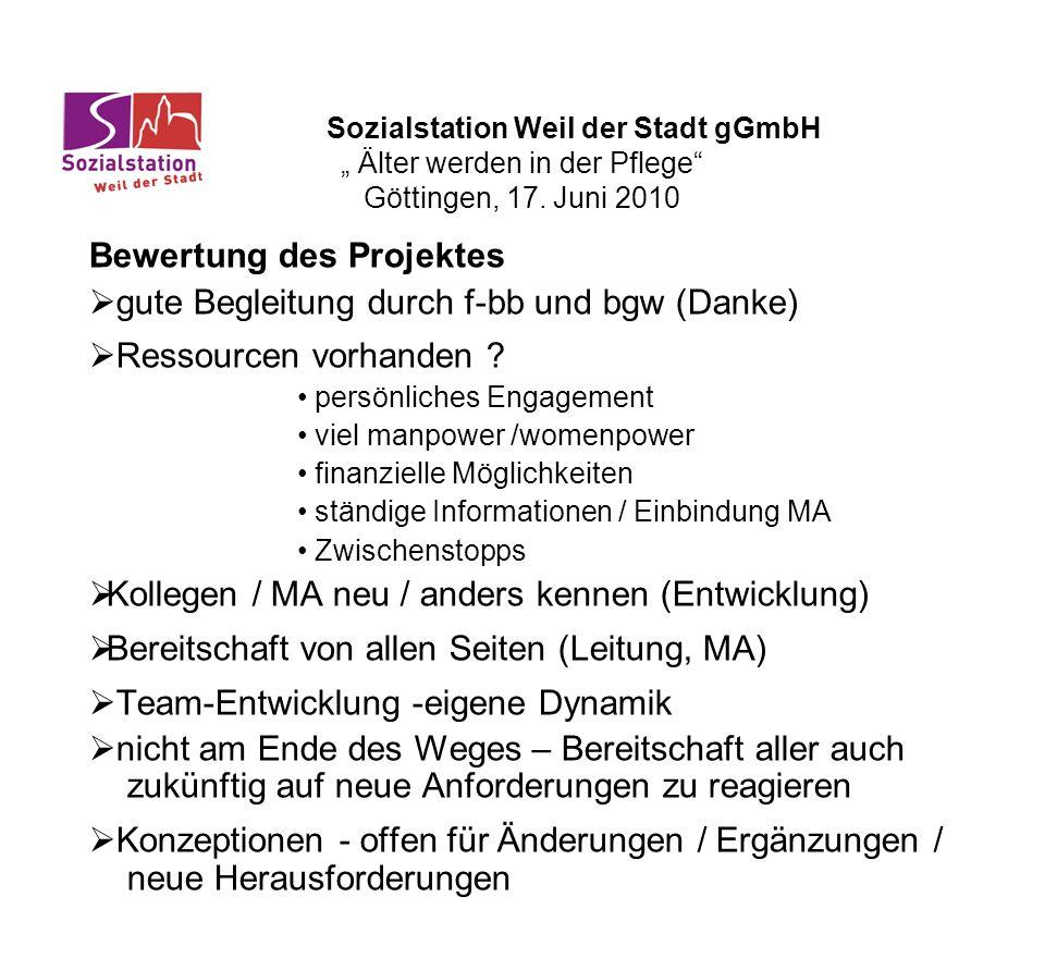 Bewertung des Projektes gute Begleitung durch f-bb und bgw (Danke)