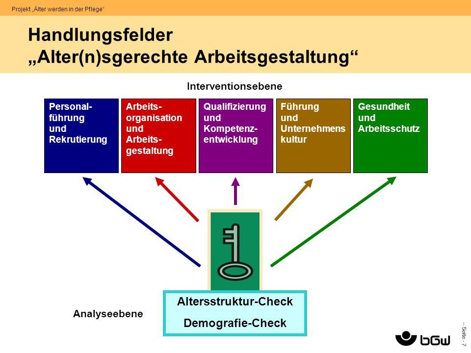 """Handlungsfelder """"Alter(n)sgerechte Arbeitsgestaltung"""