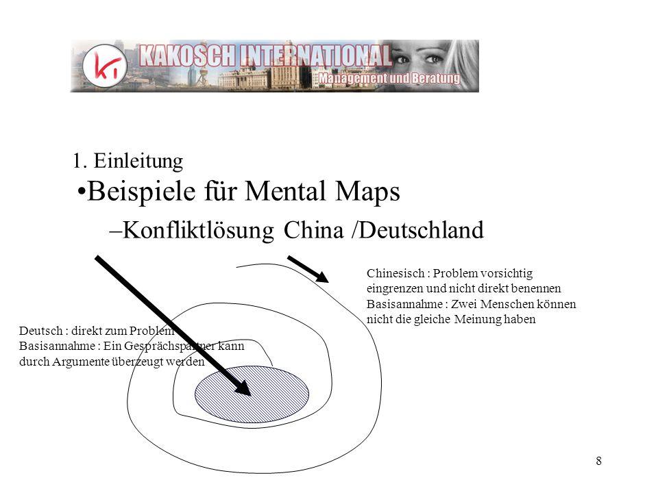 Beispiele für Mental Maps Konfliktlösung China /Deutschland