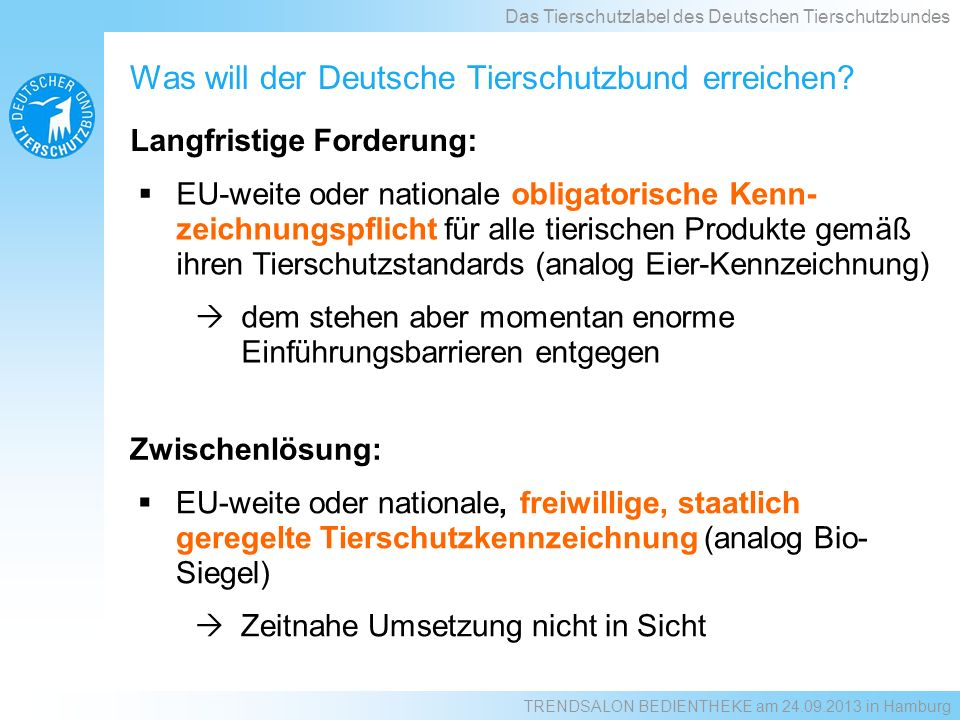 Was will der Deutsche Tierschutzbund erreichen