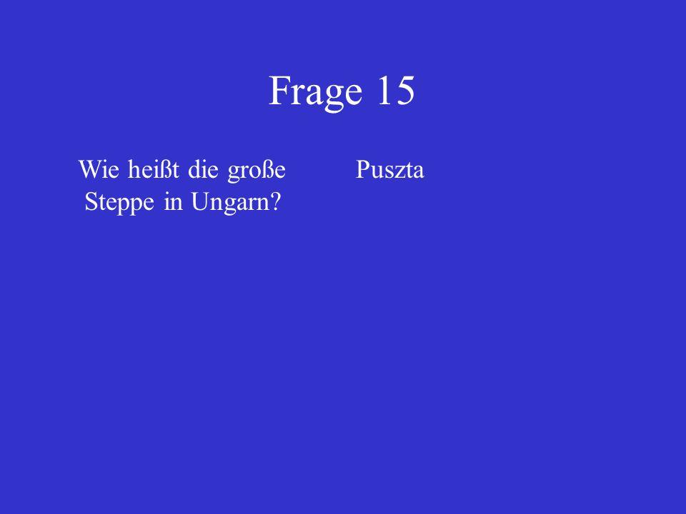 Frage 15 Wie heißt die große Steppe in Ungarn Puszta