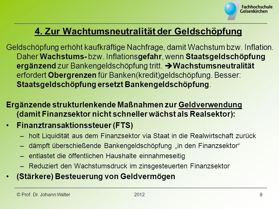 4. Zur Wachtumsneutralität der Geldschöpfung