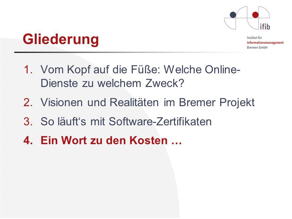 Gliederung Vom Kopf auf die Füße: Welche Online-Dienste zu welchem Zweck Visionen und Realitäten im Bremer Projekt.