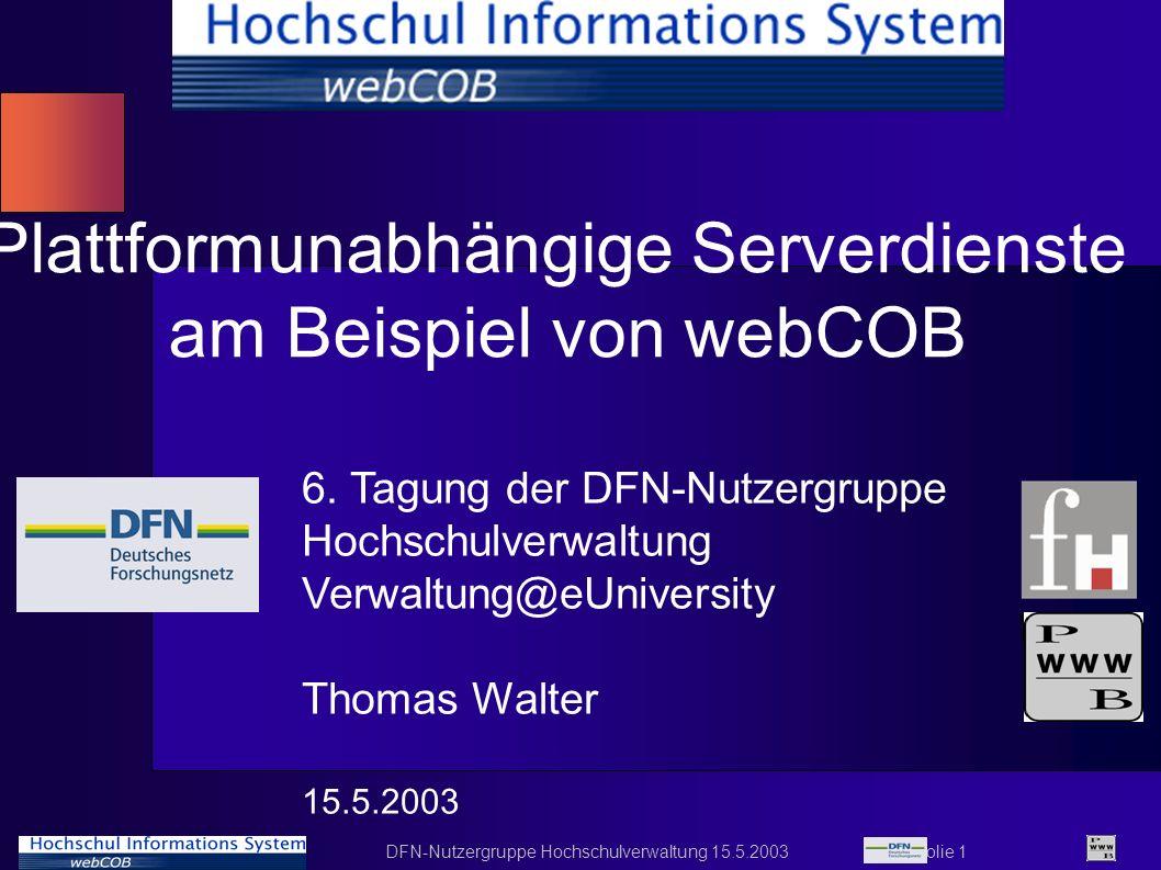 Plattformunabhängige Serverdienste am Beispiel von webCOB