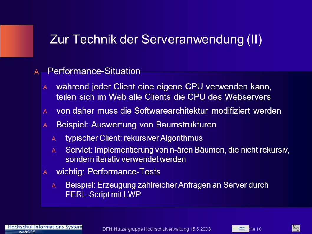Zur Technik der Serveranwendung (II)