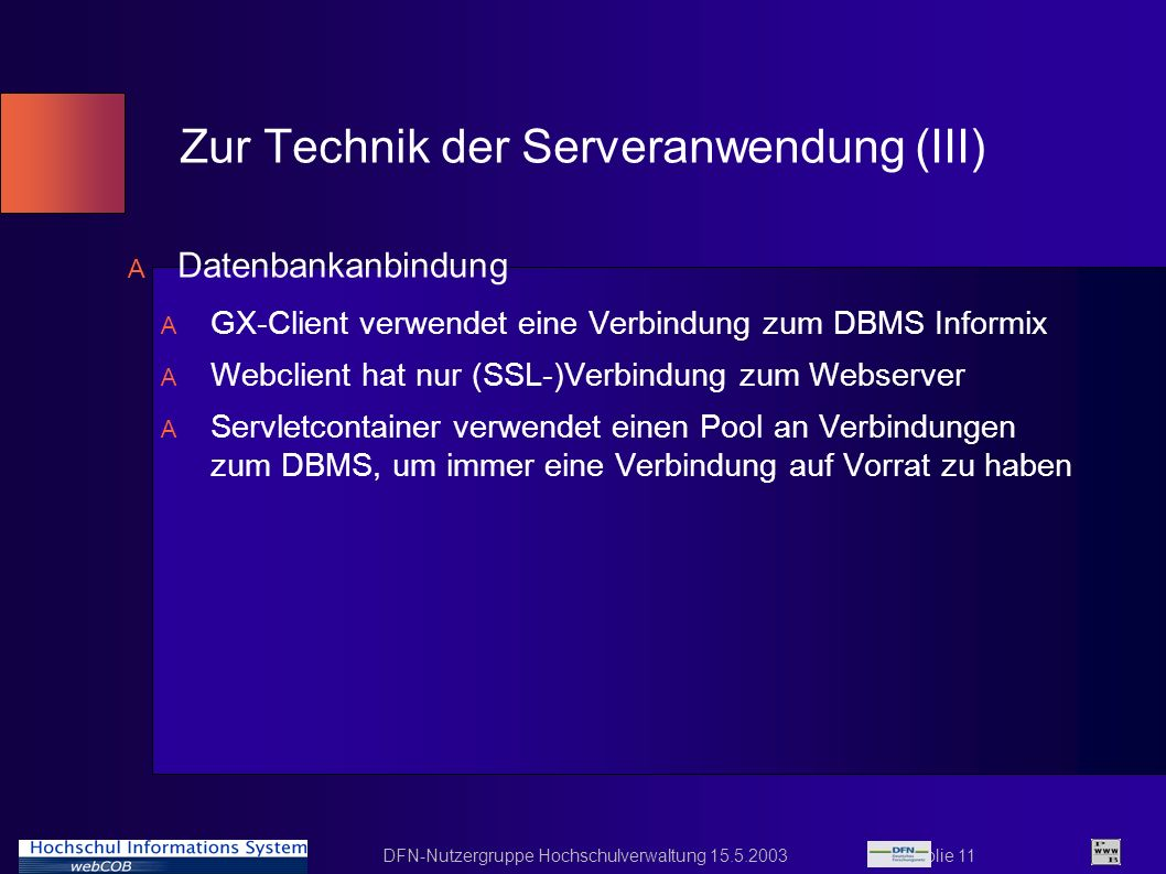 Zur Technik der Serveranwendung (III)