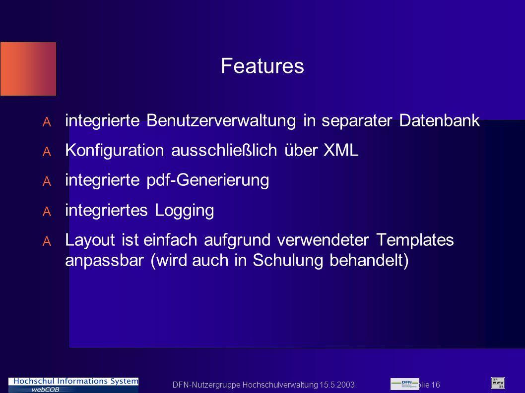 Features integrierte Benutzerverwaltung in separater Datenbank