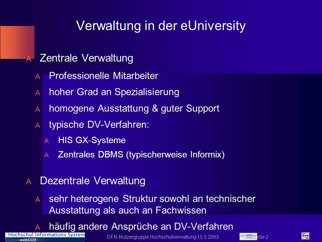 Verwaltung in der eUniversity