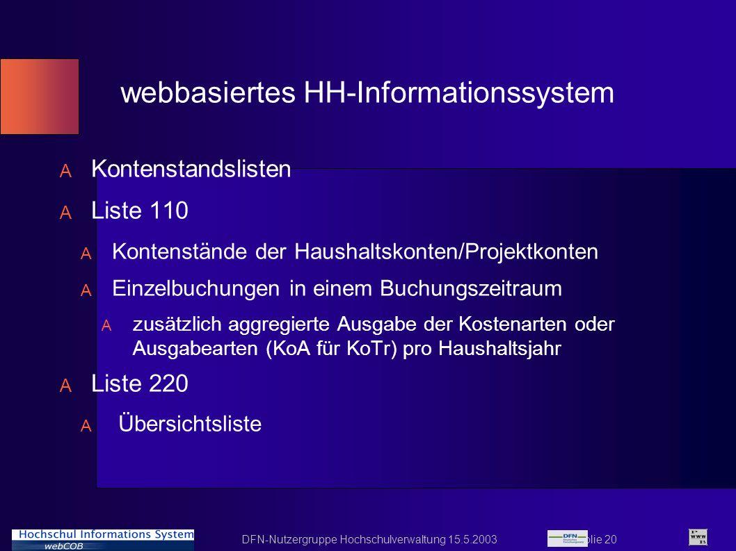 webbasiertes HH-Informationssystem
