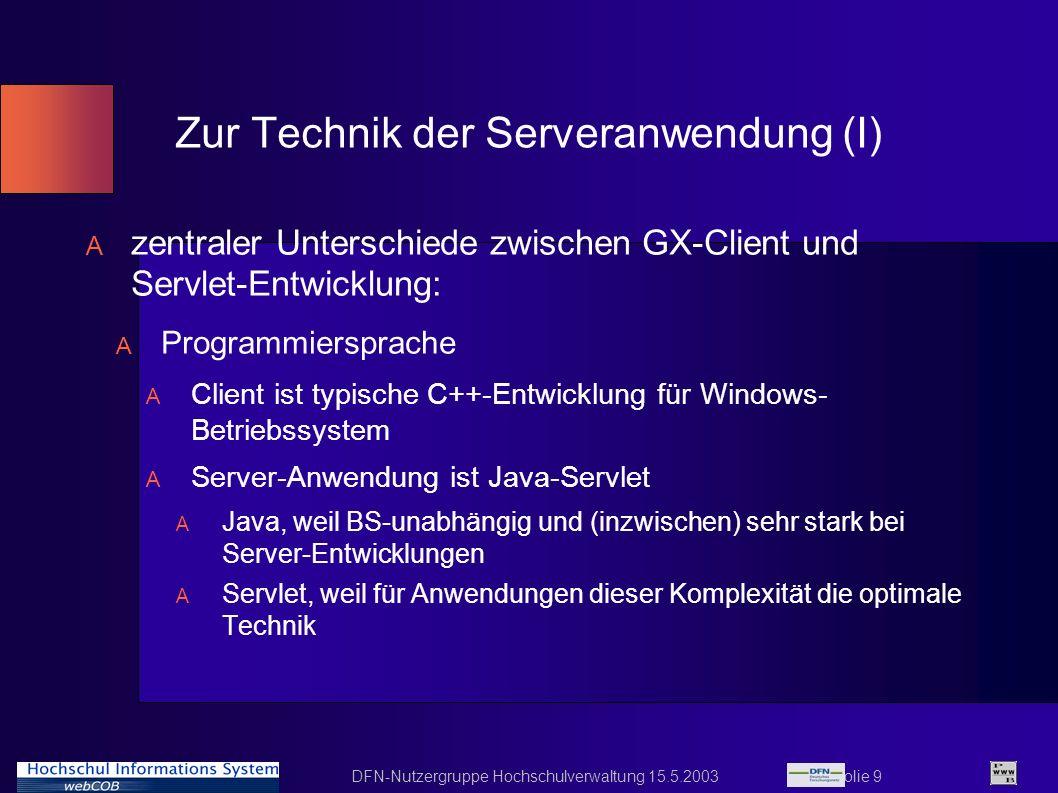 Zur Technik der Serveranwendung (I)