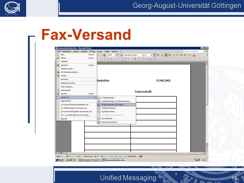 Fax-Versand Unified Messaging