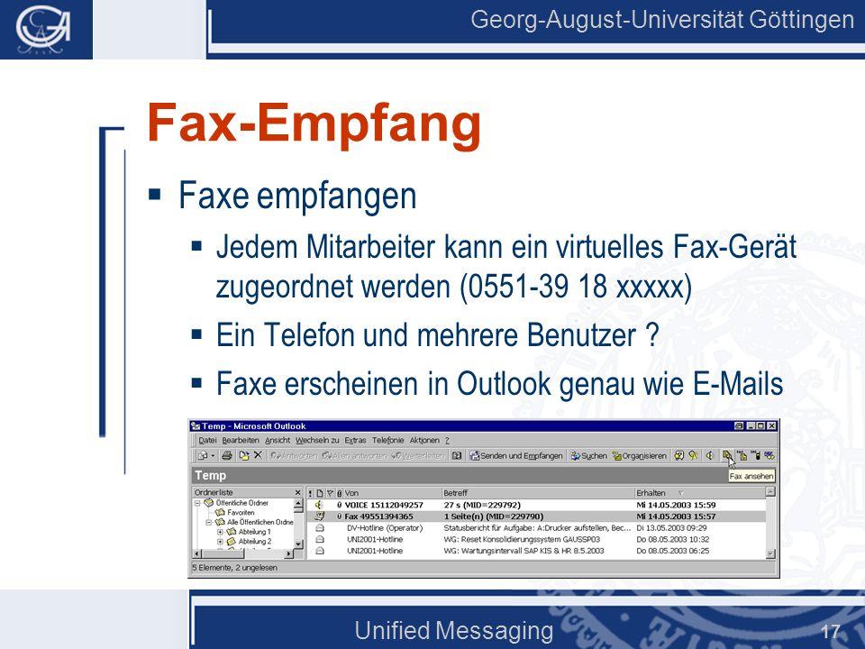 Fax-Empfang Faxe empfangen