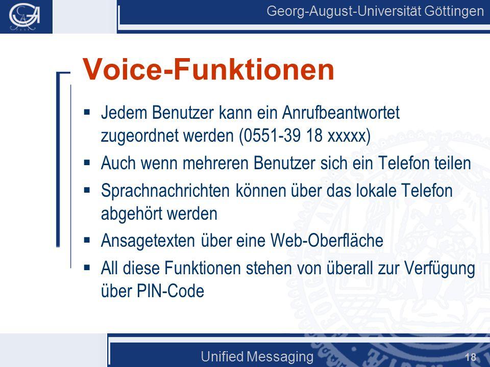 Voice-Funktionen Jedem Benutzer kann ein Anrufbeantwortet zugeordnet werden (0551-39 18 xxxxx) Auch wenn mehreren Benutzer sich ein Telefon teilen.