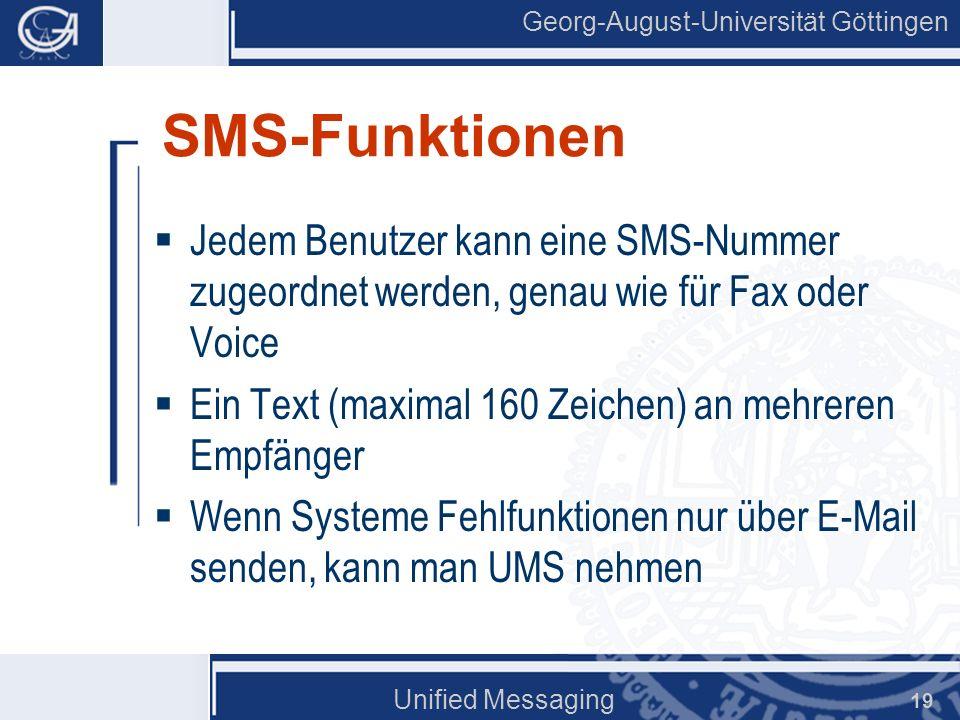 SMS-Funktionen Jedem Benutzer kann eine SMS-Nummer zugeordnet werden, genau wie für Fax oder Voice.