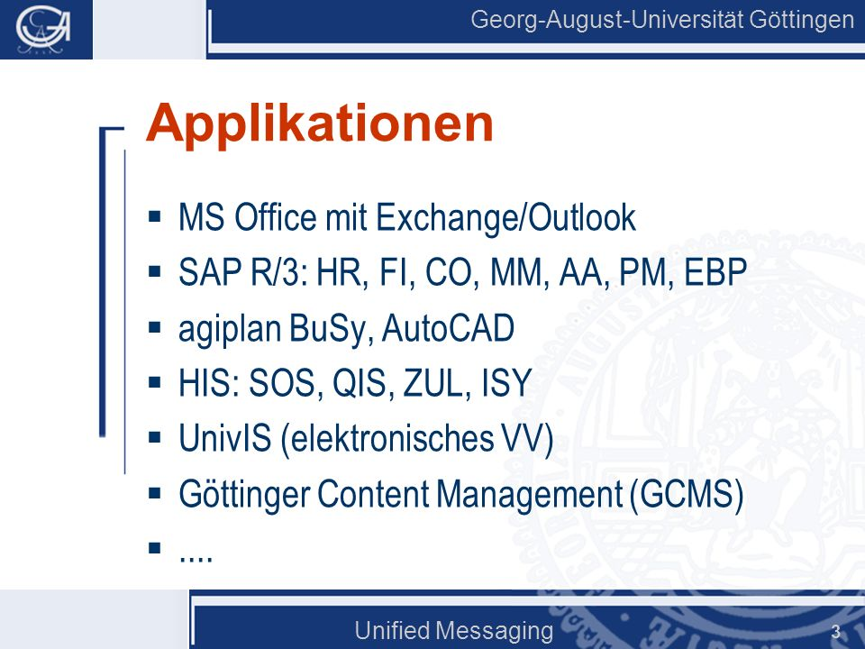 Applikationen MS Office mit Exchange/Outlook