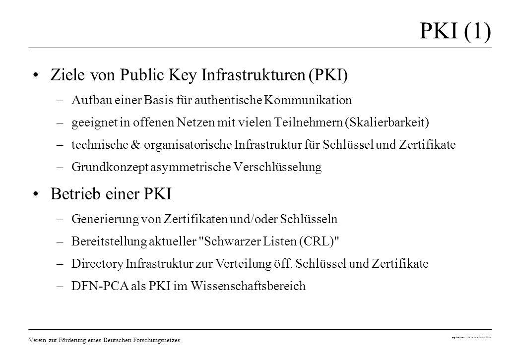 PKI (1) Ziele von Public Key Infrastrukturen (PKI) Betrieb einer PKI