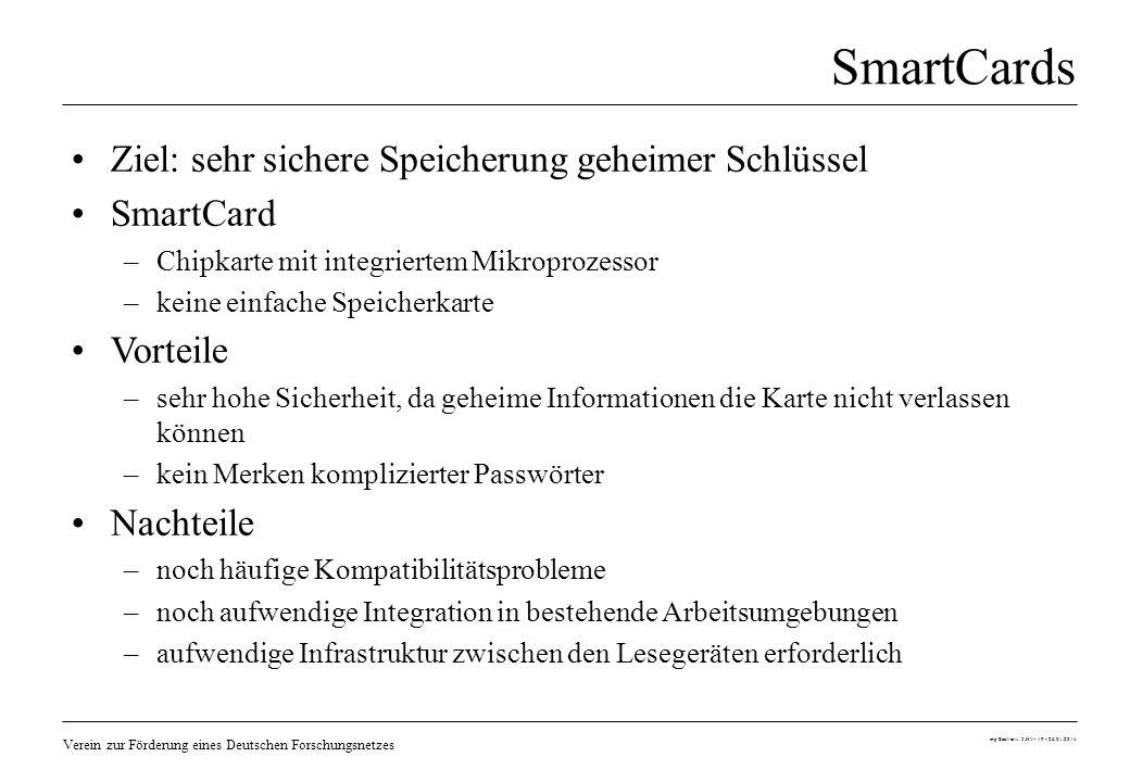 SmartCards Ziel: sehr sichere Speicherung geheimer Schlüssel SmartCard