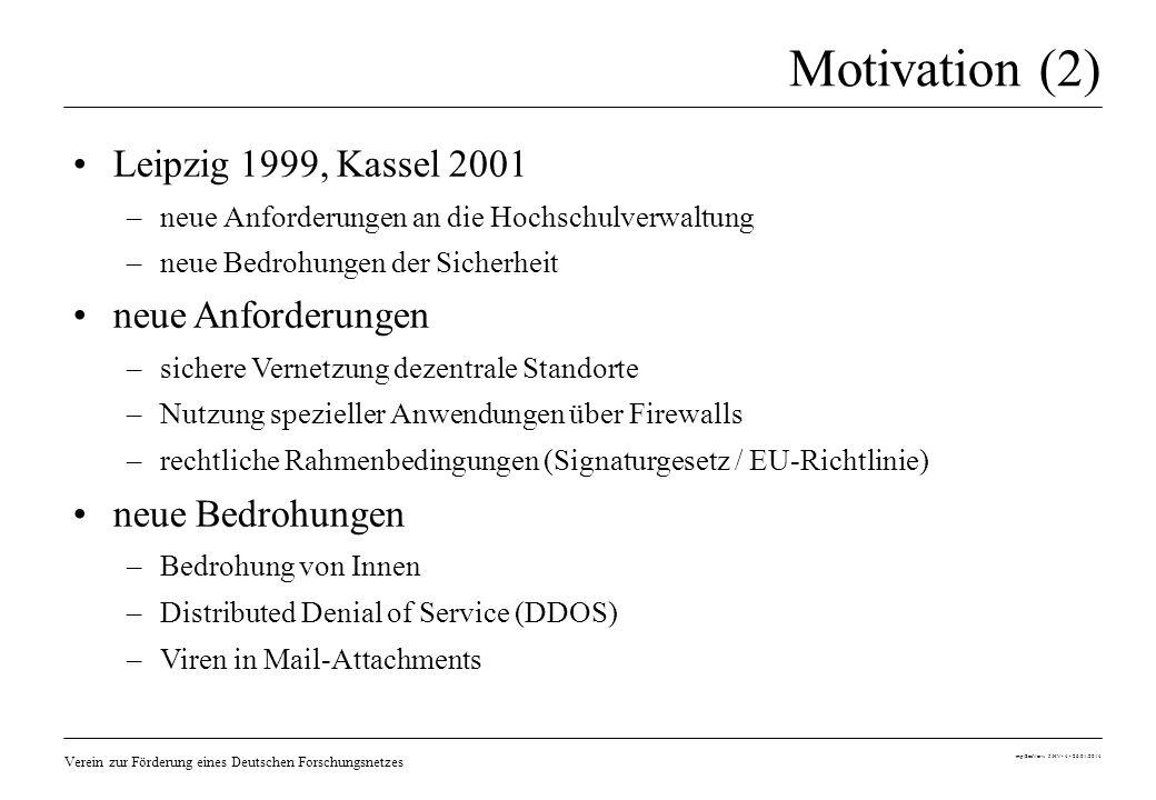Motivation (2) Leipzig 1999, Kassel 2001 neue Anforderungen