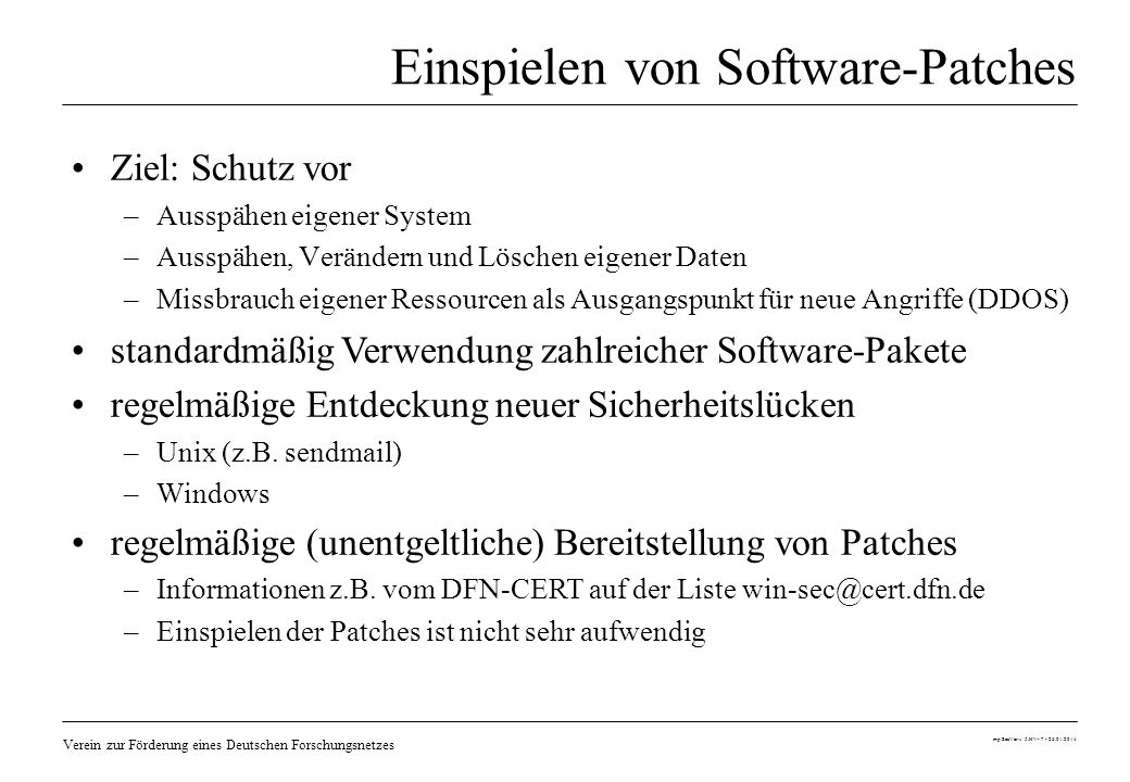 Einspielen von Software-Patches