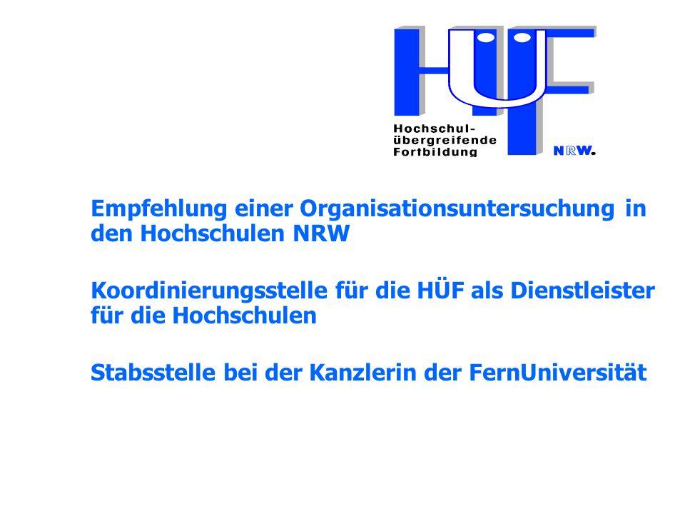 Empfehlung einer Organisationsuntersuchung in den Hochschulen NRW