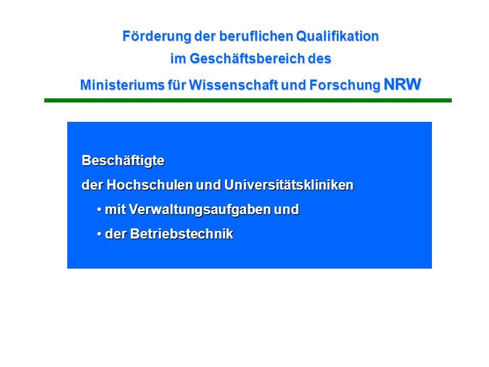 Förderung der beruflichen Qualifikation im Geschäftsbereich des Ministeriums für Wissenschaft und Forschung NRW
