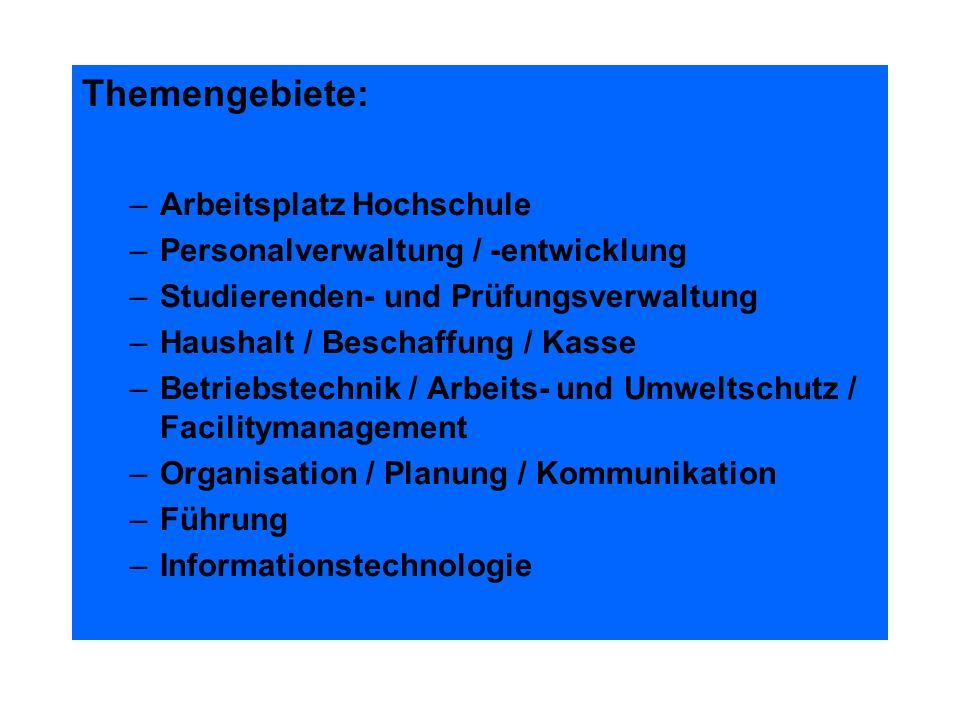 Themengebiete: Arbeitsplatz Hochschule