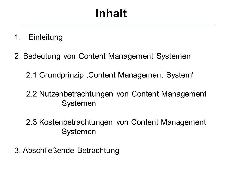 Inhalt Einleitung 2. Bedeutung von Content Management Systemen