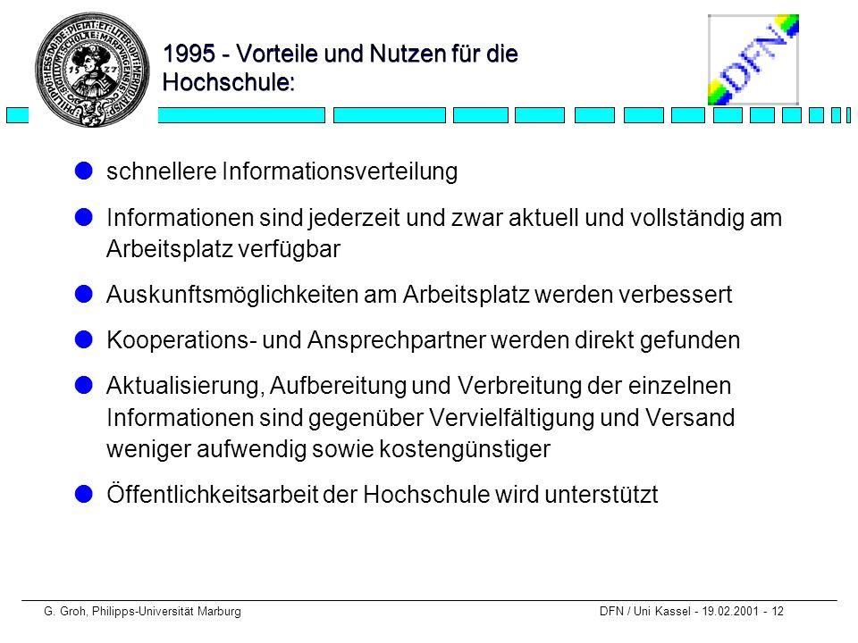 1995 - Vorteile und Nutzen für die Hochschule: