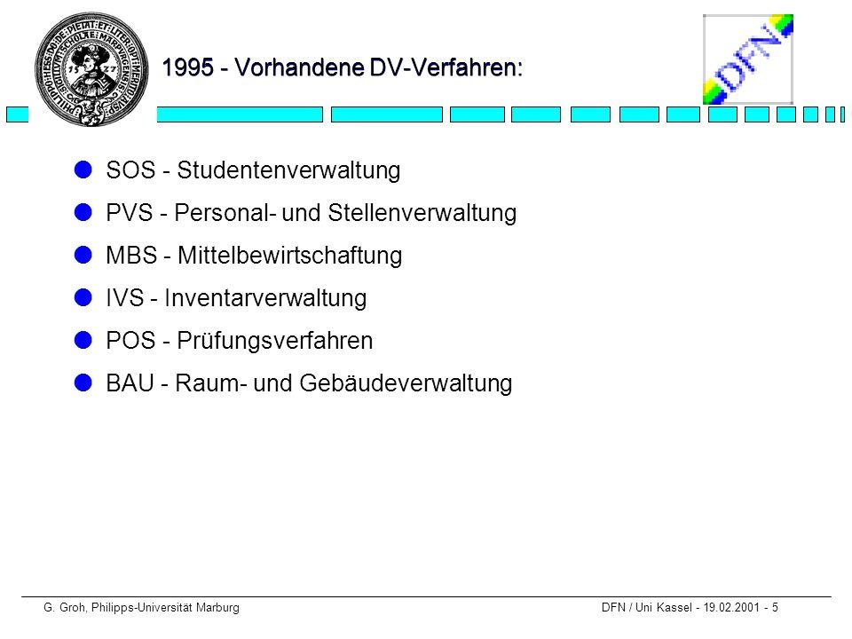 1995 - Vorhandene DV-Verfahren: