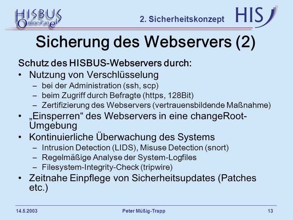 Sicherung des Webservers (2)