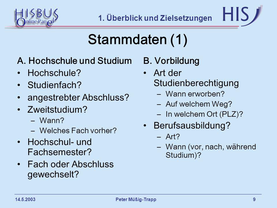 Stammdaten (1) A. Hochschule und Studium Hochschule Studienfach