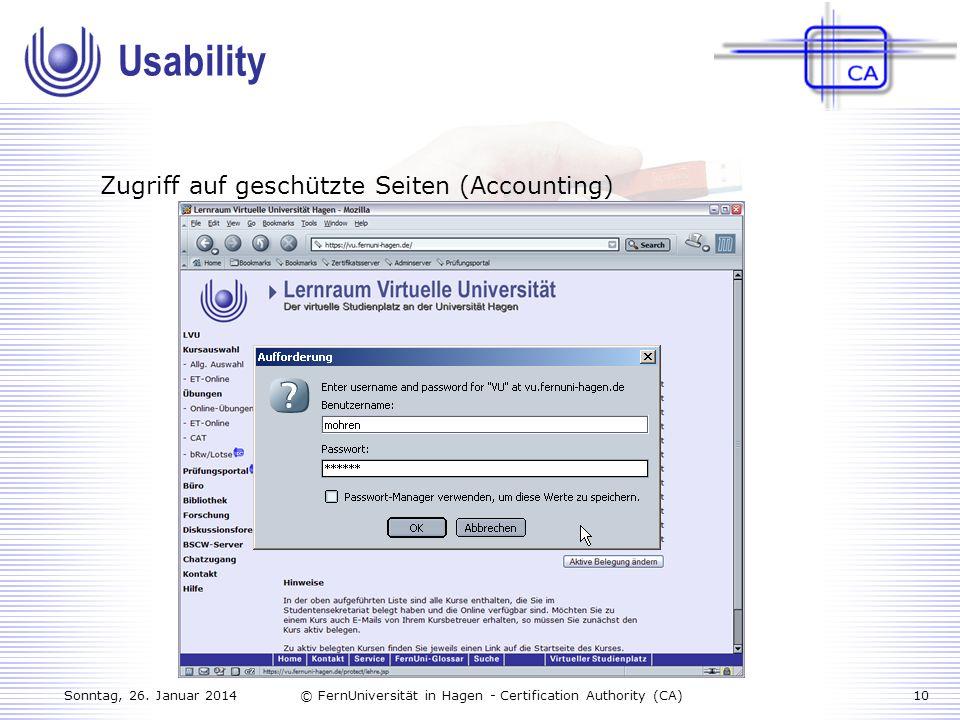 Usability Zugriff auf geschützte Seiten (Accounting)