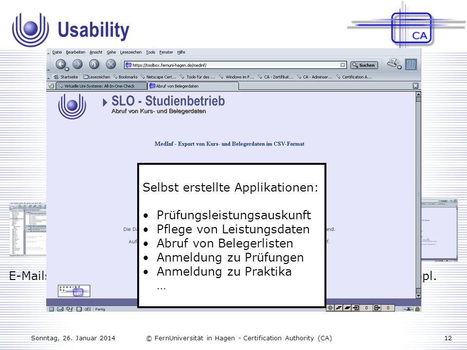 Usability Derzeitige Anwendungsmöglichkeiten an der FernUniversität