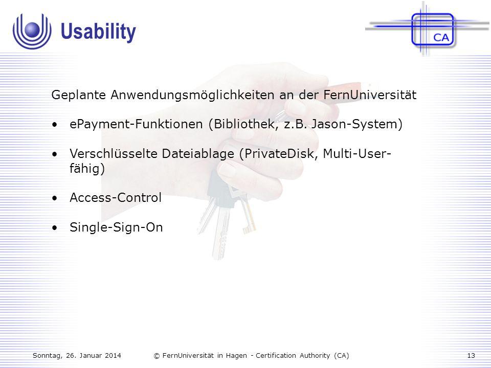 Usability Geplante Anwendungsmöglichkeiten an der FernUniversität