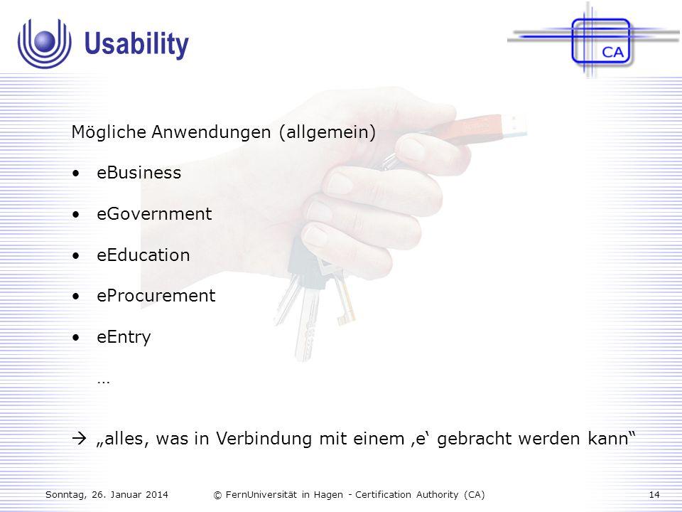 Usability Mögliche Anwendungen (allgemein) eBusiness eGovernment